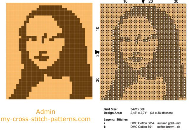 the_mona_lisa_free_cross_stitch_pattern_small_size_and_monochrome