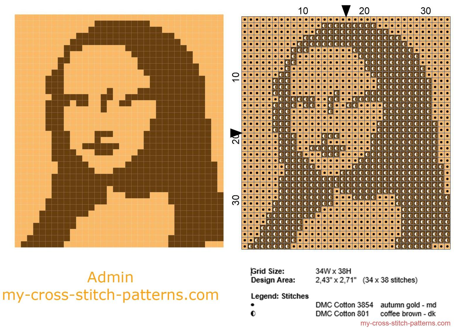 the_mona_lisa_free_cross_stitch_pattern_small_size_and_monochrome