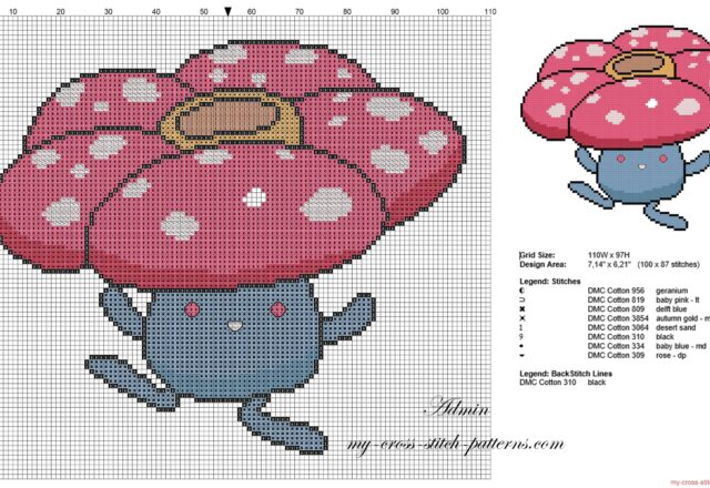 vileplume_pokemon_first_generation_number_045_cross_stitch_pattern