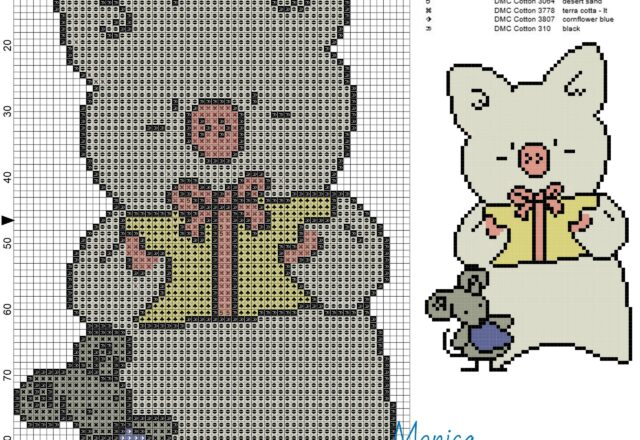 zashikibuta_and_taddy_2_cross_stitch_pattern_
