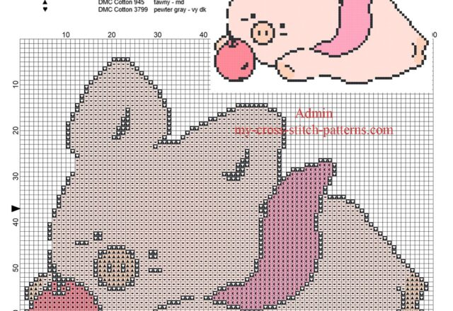 zashikibuta_baby_pig_play_with_an_apple_free_simple_small_cross_stitch_pattern