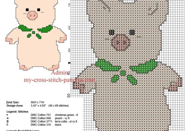 zashikibuta_pig_simple_back_stitch_cross_stitch_pattern