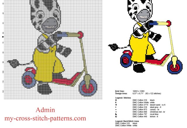 zou_zebra_french_animated_series_on_a_scooter_free_cross_stitch_pattern