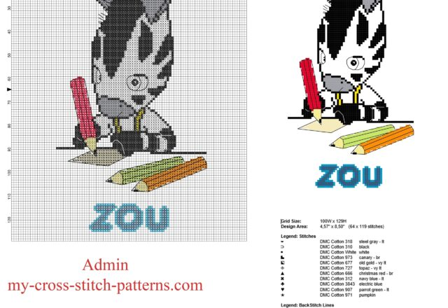 zou_zebra_french_cartoon_does_his_homework_free_cross_stitch_pattern