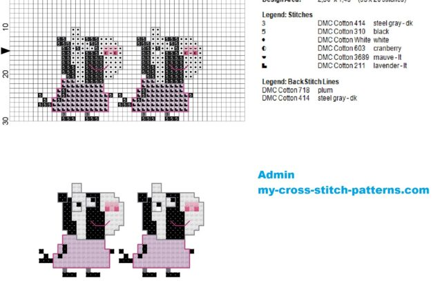 zuzu_and_zaza_zebra_small_cross_stitch_pattern_of_peppa_pig_35x20