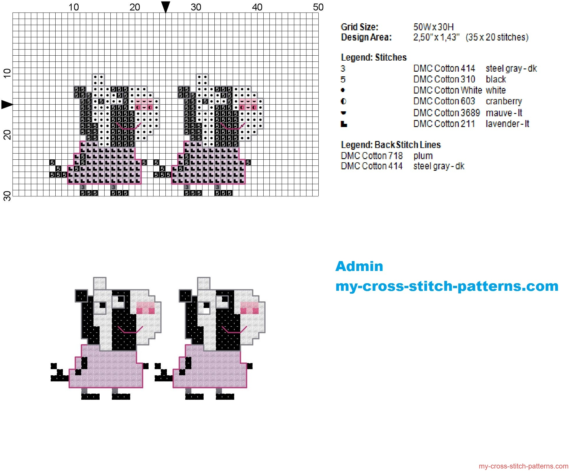 zuzu_and_zaza_zebra_small_cross_stitch_pattern_of_peppa_pig_35x20